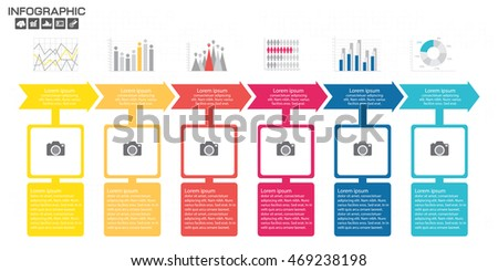 timeline infographics design template options processのベクター画像