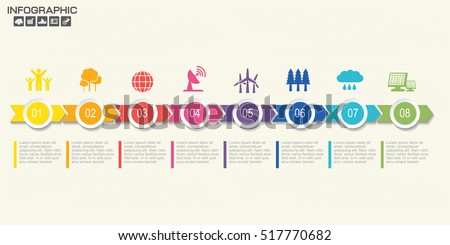 Timeline infographics design template with 8 options, process diagram, vector eps10 illustration