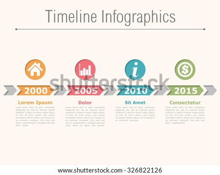 Timeline infographics design with arrows, process diagram, vector eps10 illustration - stock vector