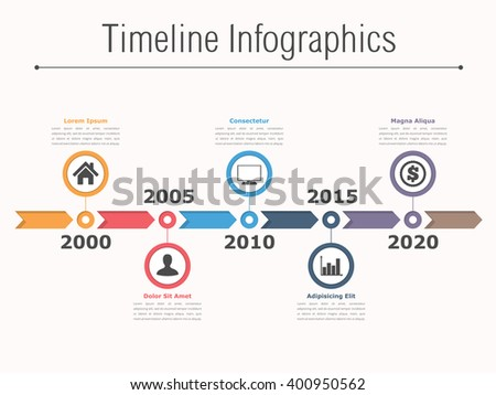 Timeline infographics design with arrows, workflow or process diagram, flowchart, vector eps10 illustration - stock vector