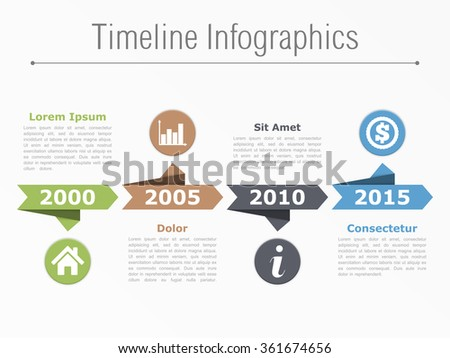 Timeline infographics with arrows icons and text, vector eps10 illustration - stock vector