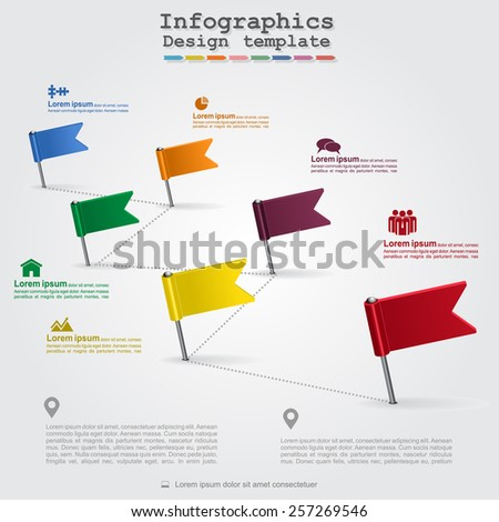 Timeline infographics with elements and icons. Vector illustration - stock vector