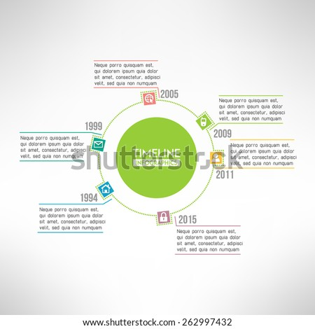 Timeline template infographic suitable for business presentations, reports, statistic layout. Vector - stock vector