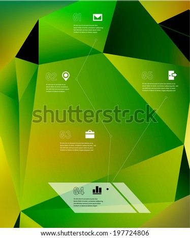 Timeline template on abstract origami 3d geometric shape and blurred gradient mesh background. 10 EPS - stock vector