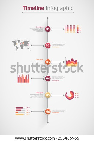 Timeline vector infographic. World map - stock vector