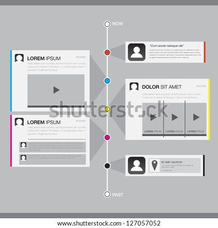 Timeline Website Design Element - EPS10 Vector Design - stock vector