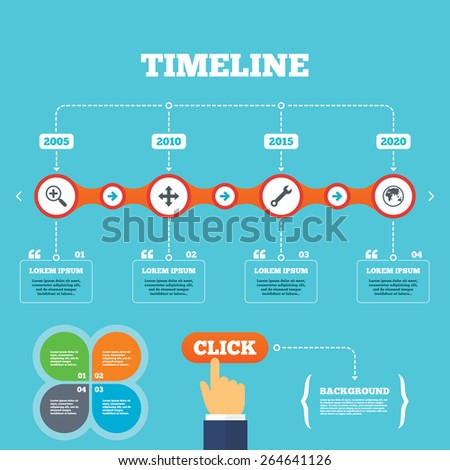 Timeline with arrows and quotes. Magnifier glass and globe search icons. Fullscreen arrows and wrench key repair sign symbols. Four options steps. Click hand. Vector - stock vector