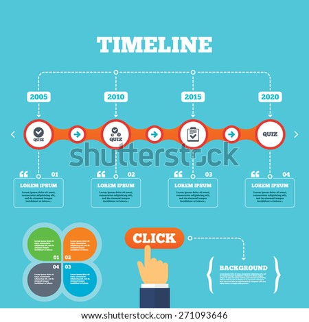 Timeline with arrows and quotes. Quiz icons. Checklist with check mark symbol. Survey poll or questionnaire feedback form sign. Four options steps. Click hand. Vector - stock vector