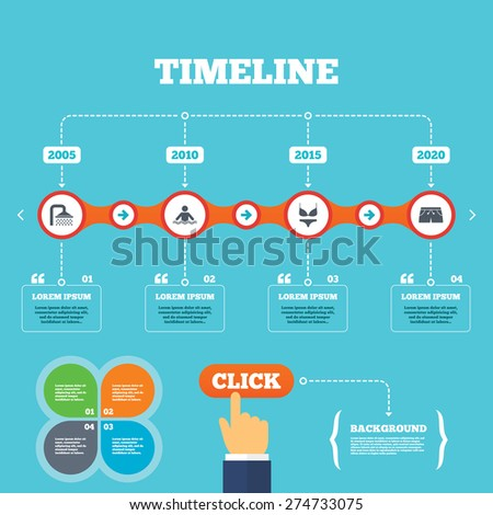 Beau Timeline With Arrows And Quotes. Swimming Pool Icons. Shower Water Drops  And Swimwear Symbols