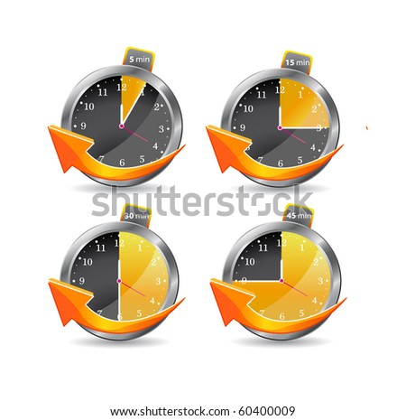 timer clocks with arrow. vector illustration isolated on white background - stock vector