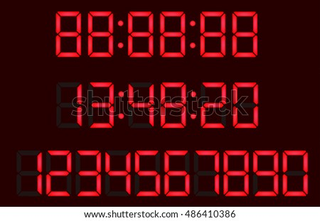 Timer, red fluorescent digital display with separate figures in layers