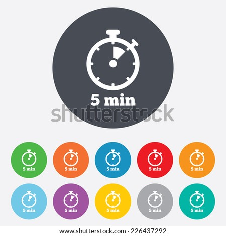 Timer sign icon. 5 minutes stopwatch symbol. Round colourful 11 buttons. Vector - stock vector