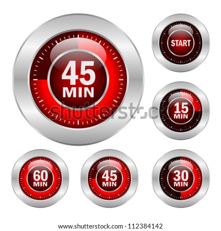 Timer vector icons set, eps10 illustration - stock vector