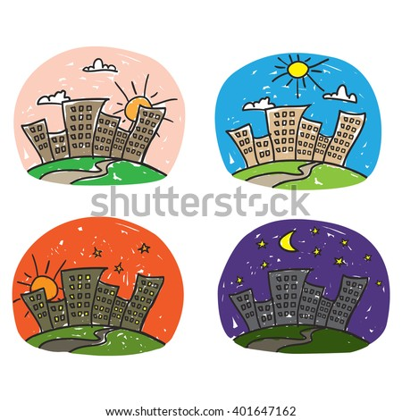Times of day icon set. Cartoon style hand drawn. - stock vector