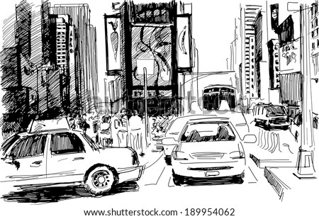 Times Square in New York city in a sketchy contrast style: artistic inc-pencil drawing in vector - stock vector