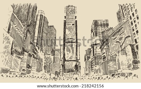 Times Square, street in New York city engraving vector illustration, hand drawn - stock vector