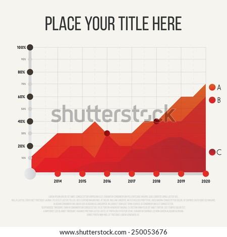 Timetable chart with three graphs showing development over years vector illustration. - stock vector