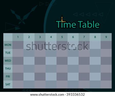 Timetable Schedule Planner Vector Illustration - stock vector