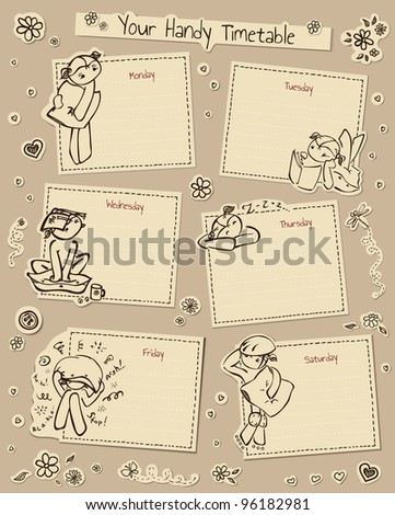 Timetable with cute decorated elements - stock vector