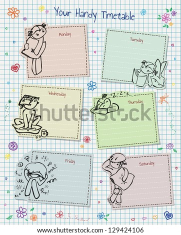Timetable with doodles, hearts and flowers, notebook paper. - stock vector