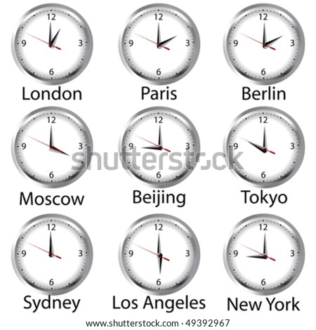 Timezone clock. Clocks showing the time around the world.