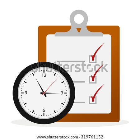 Timing Concept, Check List Board and Clock - stock vector