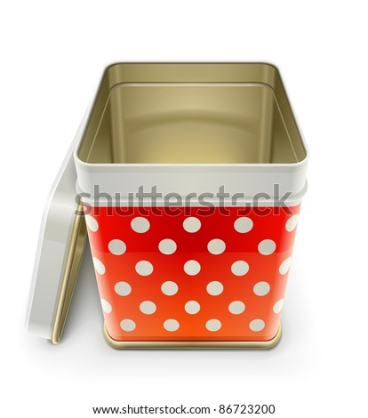 tin box with lid vector illustration isolated on white background - stock vector