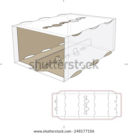 Tin Carrier with Divider Edge and Die Cut Template - stock vector