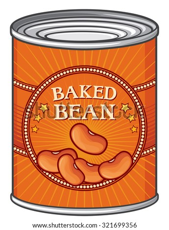 tin of baked beans (can of baked beans) - stock vector
