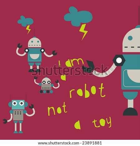 tin robot - stock vector