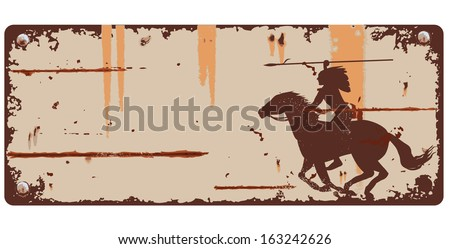 Tin sign with native american indian background, vector - stock vector