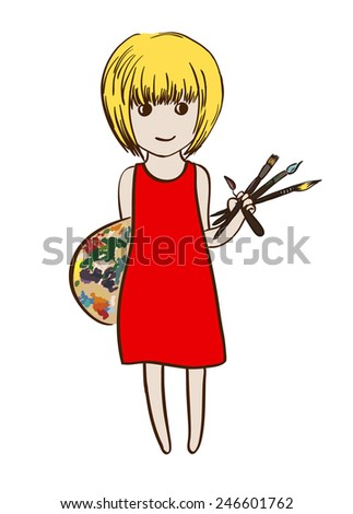 Tiny artist girl with brushes and pallet, vector illustration, isolated on white - stock vector