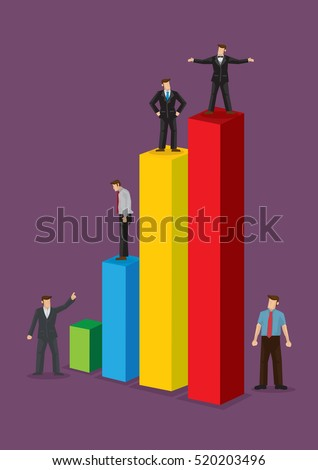 Tiny business persons standing on colorful business bar chart. Creative vector illustration isolated on violet background.