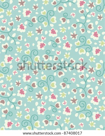 tiny cute flora pattern background - stock vector