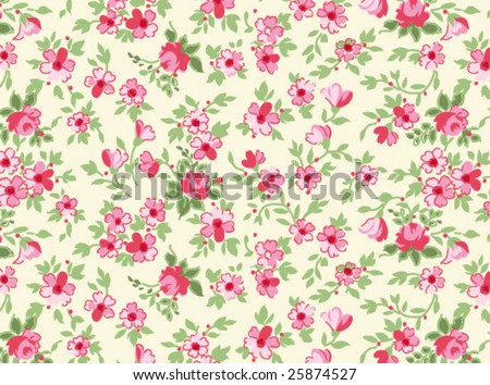Tiny floral seamless background - stock vector