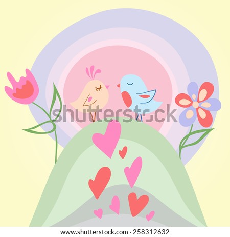 Tiny love bird. Vector illustration - stock vector