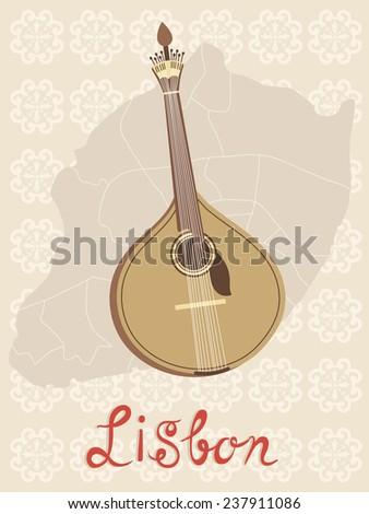 Tipical portuguese fado guitar over Lisbon map and azulejo tiles background. vector illustration - stock vector