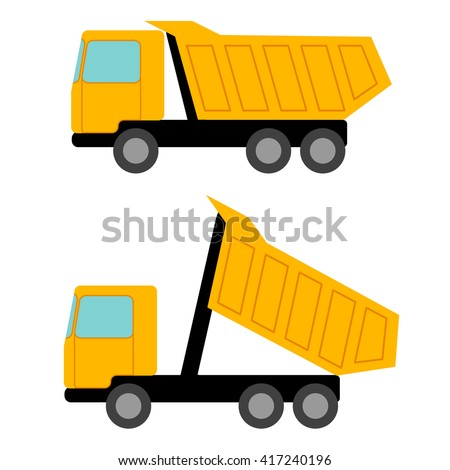 Tipper. Flat picture construction vehicles. Isolated objects. Vector Image. - stock vector