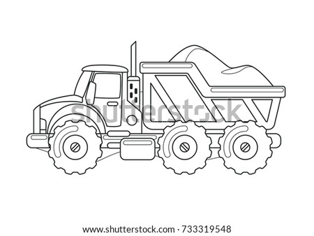 Tipper Truck Coloring Book Stock Vector 733319548 - Shutterstock