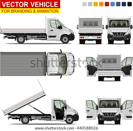 Tipper truck.  Doors can be opened, colors can be changed, the elements are in the separate layers. I'd recommend to rasterize each vector layer before exporting the file to PSD format.