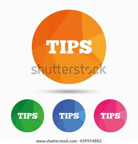 Tips sign icon. Service money symbol. Triangular low poly button with flat icon. Vector