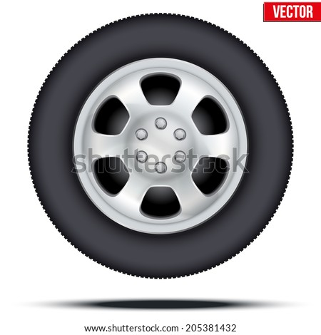 Tire and Wheel disk of car. Chrome metal.. Vector illustration, premium design. Isolated on white background. - stock vector