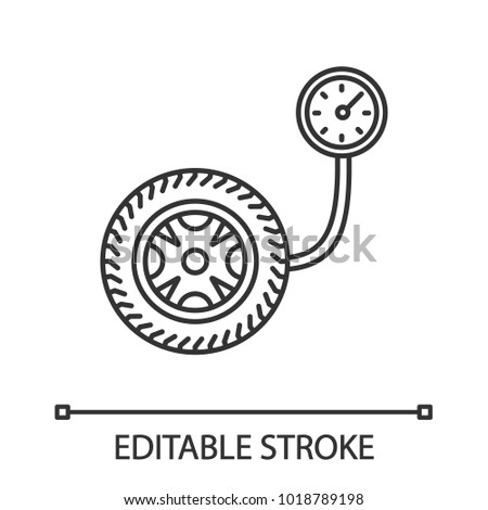 Tire Pressure Gauge Linear Icon Thin Stock Vector 1018789198