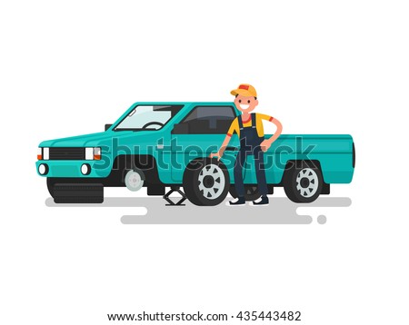 Tire service. Worker change a punctured tire on the car. Vector illustration of a flat design