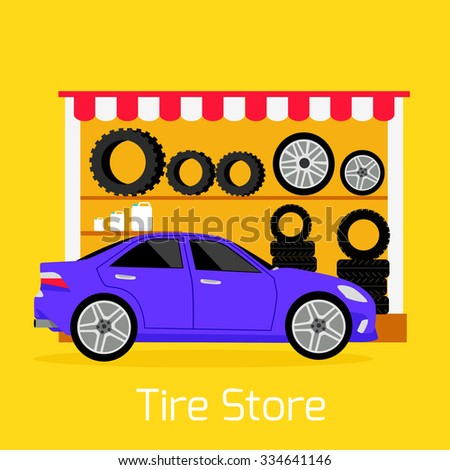 Tire store automobile flat concept. Mechanic service, transport car, repair wheel, auto vehicle transportation,  maintenance and tyre, rubber and quality illustration - stock vector