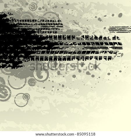 Tire track background with circles - stock vector