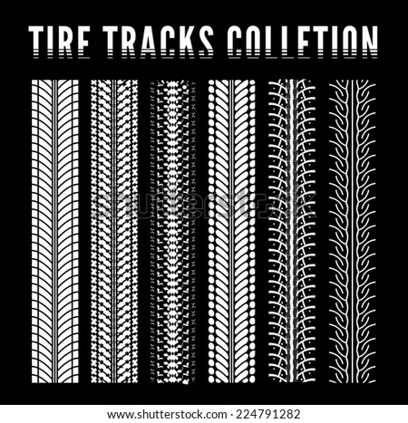 Tire track collection. Vector illustration - stock vector