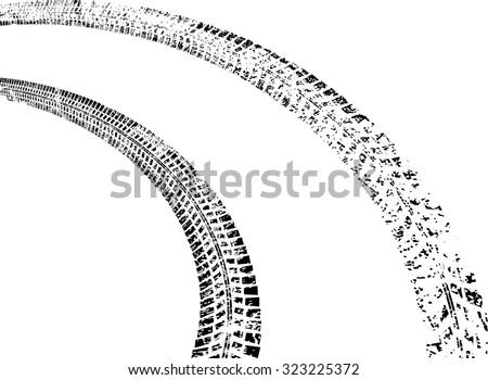Tire Track . Vector Print Textured Tire Track . Distressed Overlay Grunge Design Element . Mud Splatter Texture . - stock vector