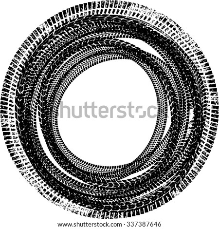 Tire Track Vector Round Border Frame . Circle Design Frame .  - stock vector