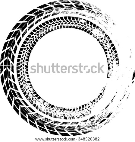 Perfect Tire Track Vector Round Border Frame . Distressed Overlay Grunge Design  Circle .
